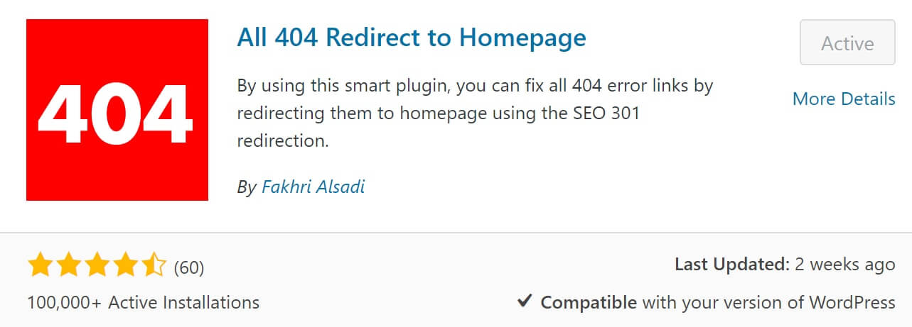 all 404 redirect to homepage plugin