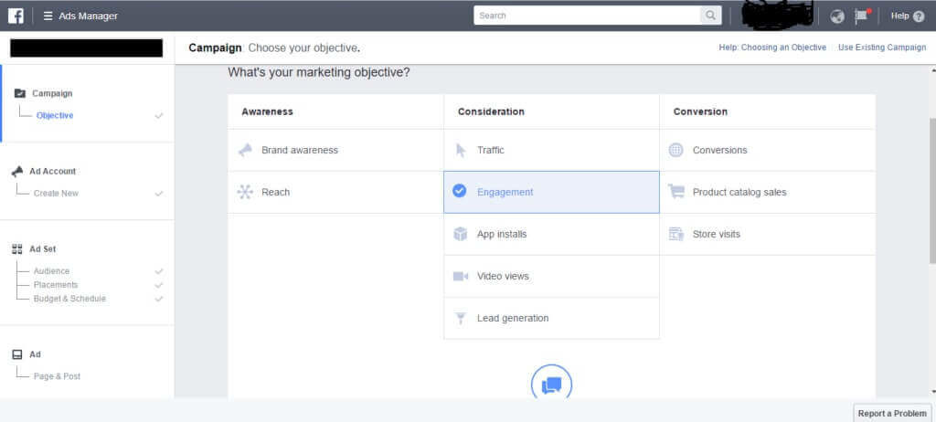 choose your facebook ad objective