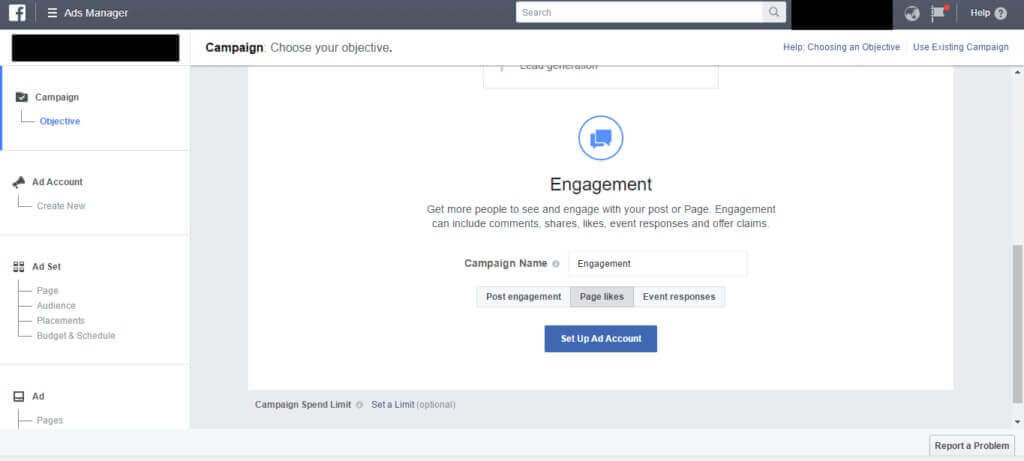 set up a facebook ad campaign for engagement
