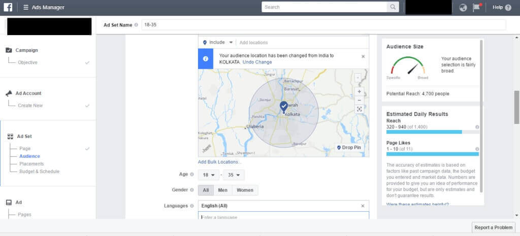 set up a audience targeting in facebook ads
