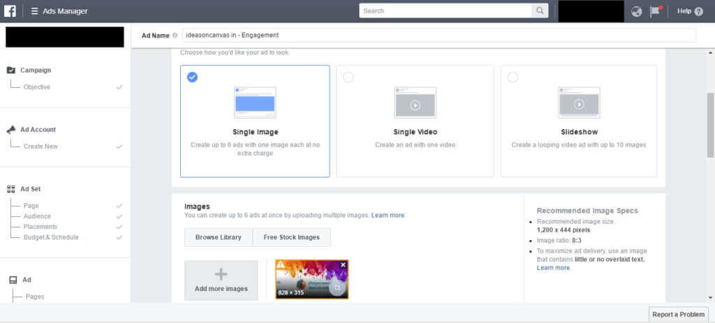 facebook ad campaign image size