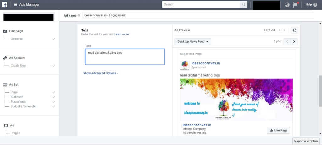 create your first facebook ad campaign