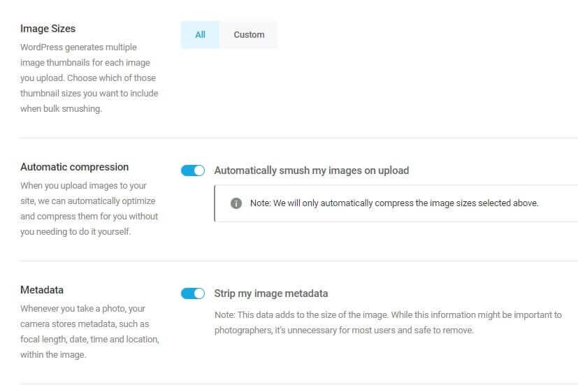 smush plugin settings