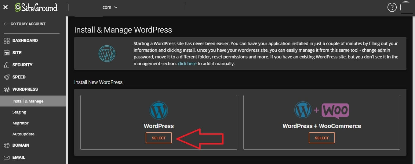 install wordpress from siteground control panel
