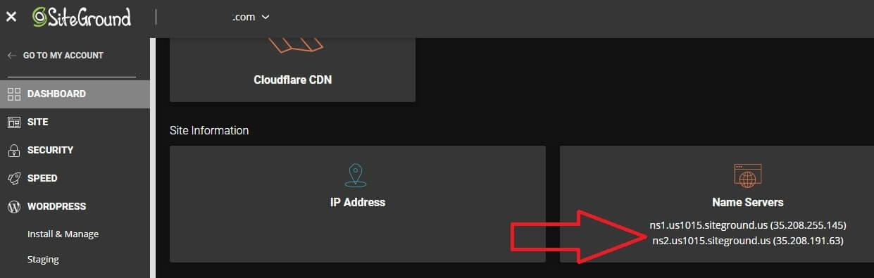 siteground hosting nameserver details
