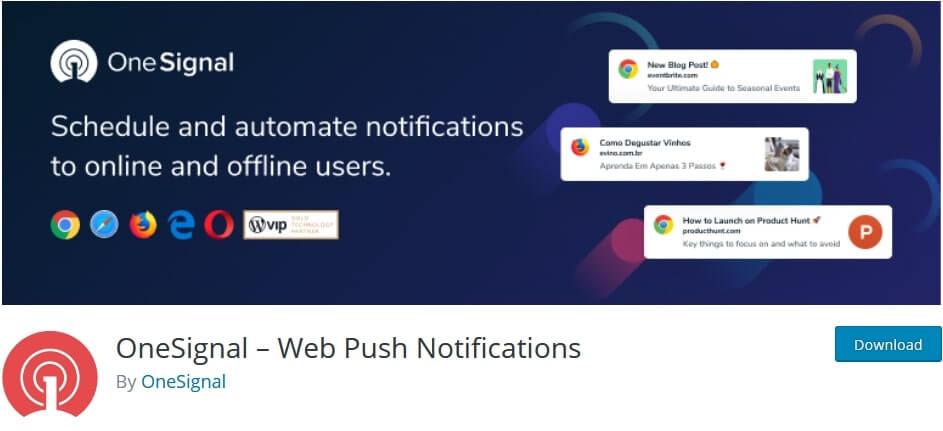 one singal web push notification plugin