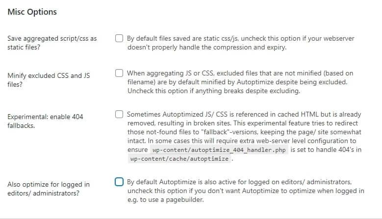 wordpress autoptimize best settings