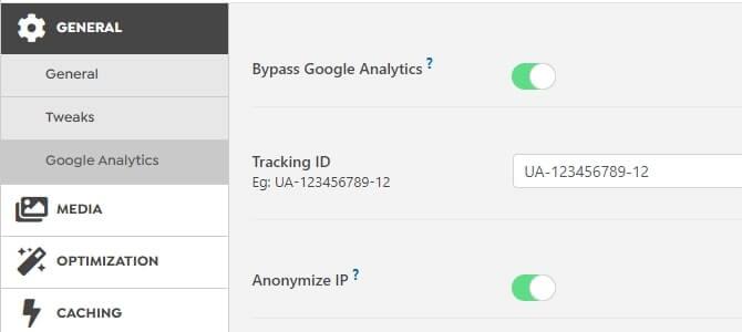 swift performance lite setting for google analytics