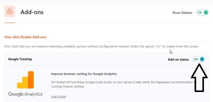 wp rocket google analytics setting page