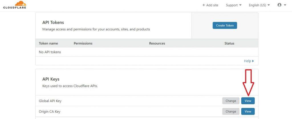 cloudflare API page