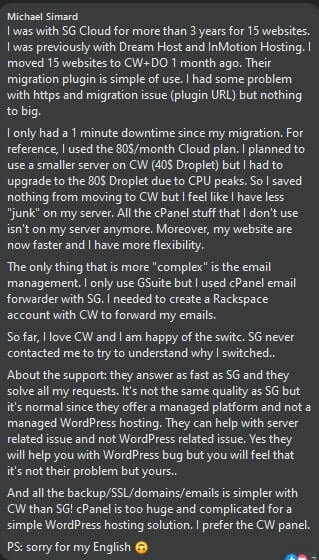 cloudways customer review on facebook